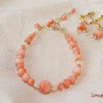 珊瑚のリフォーム S.E様 珊瑚のブレスレットと耳飾り